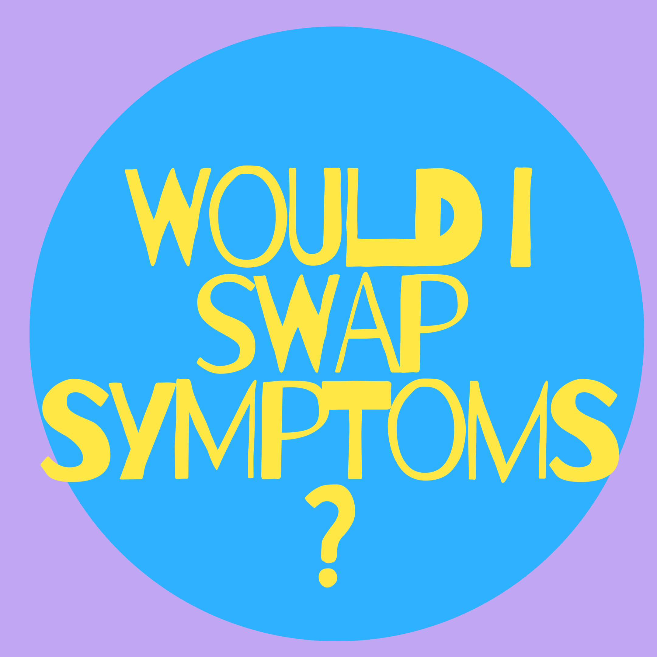 yellow would i swap symptoms in ble circle over lavender background