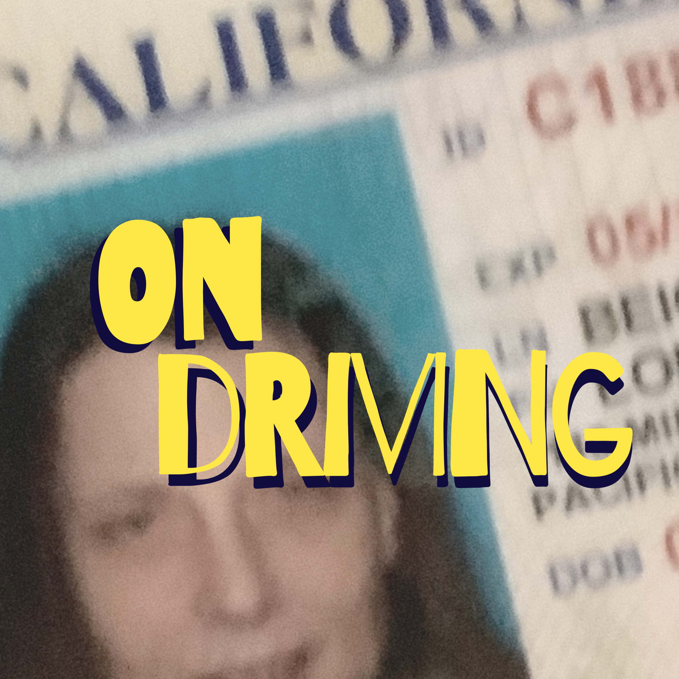on driving in yellow letters over close up of drivers license
